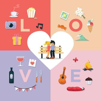 Elementos dos pares românticos Set