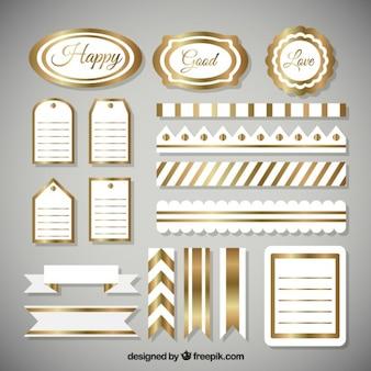 elementos dourados de scrapbooking