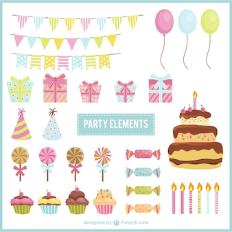 Elementos encantadores da festa de aniversário
