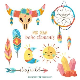 Elementos étnicos desenhado mão bonito