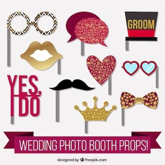 Elementos fantásticos para cabine de foto do casamento