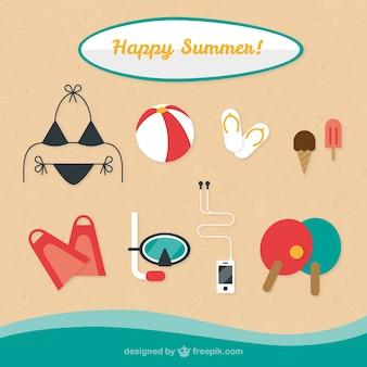 Elementos felizes do verão