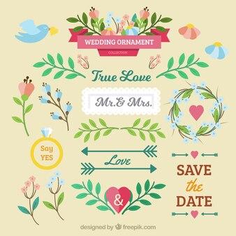 Elementos florais coloridos do casamento