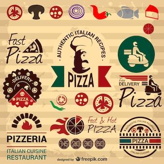 Elementos gráficos retro de pizza italiana