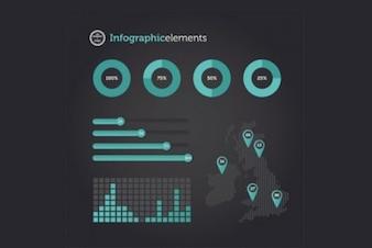 Elementos infográfico profissionais com gráficos e bares