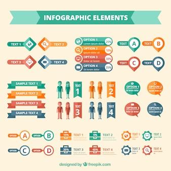 Elementos infográficos coloridos
