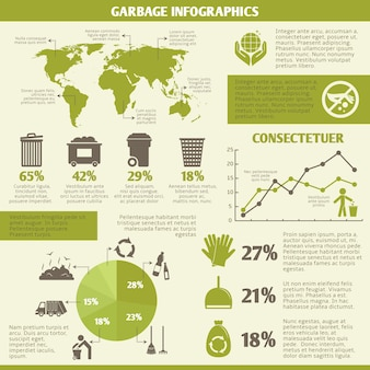 Elementos infográficos de reciclagem de lixo com ícones e gráficos ilustração vetorial