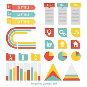 Elementos infográficos decorativos em três cores