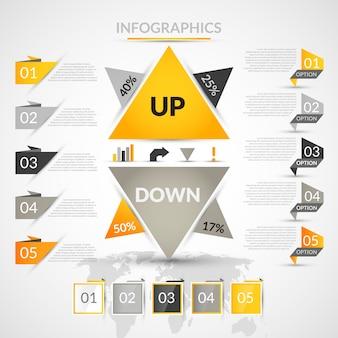 Elementos infográficos Origami