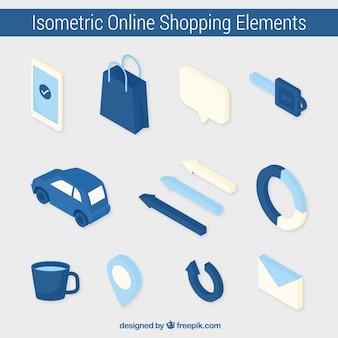 Elementos isométricos azuis do pacote da loja online