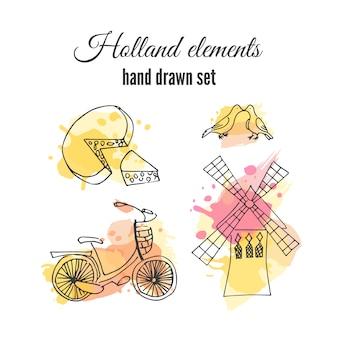 Elementos, mão, desenhado, jogo