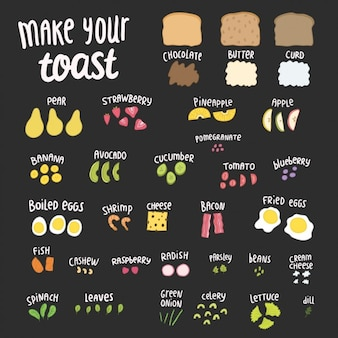 Elementos pequeno-almoço coloridas
