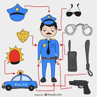 Elementos policiais vector