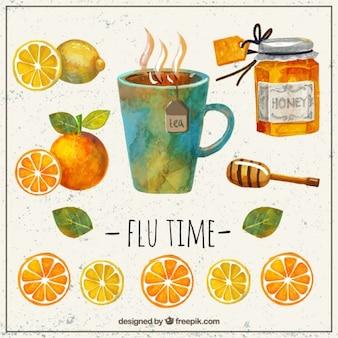 Elementos saborosas para uma gripe