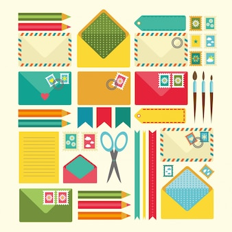 Elementos scrapbooking coloridos