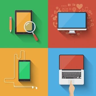 Elementos tecnológicos coloridos
