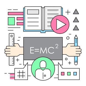 Elementos vetoriais lineares de educação on-line
