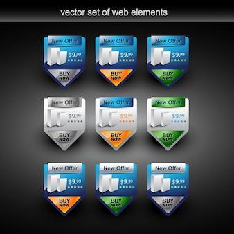 Elementos web vetoriais com a venda do produto em 9 estilos
