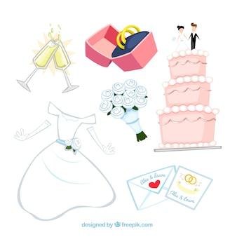 Elementos wedding ilustrado