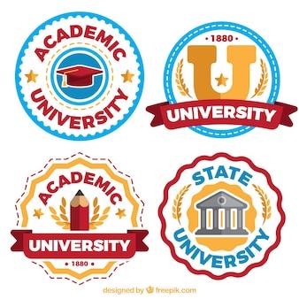 Emblemas acadêmicos em cores diferentes