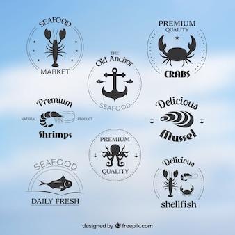 Emblemas coleção de frutos do mar