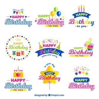 emblemas coloridos do aniversário