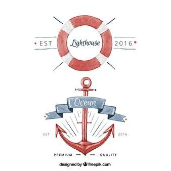 Emblemas da aguarela com artigos náuticos