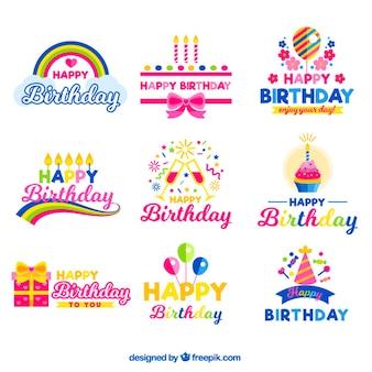 emblemas de aniversário alegre
