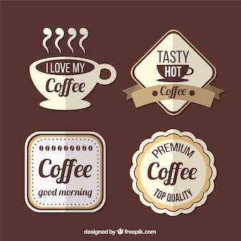 Emblemas de café no estilo do vintage