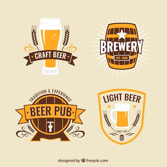 Emblemas de cerveja no estilo do vintage