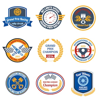 Emblemas de corrida coloridos