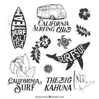 emblemas de surf desenhados mão