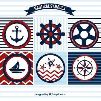 emblemas de vela em cores vermelhas e azuis