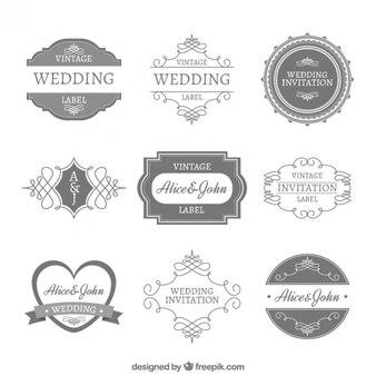 Emblemas decorativos elegantes do casamento no estilo do vintage
