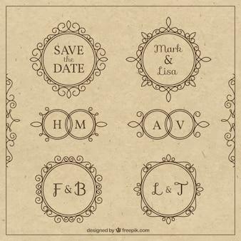 Emblemas do casamento ornamentais