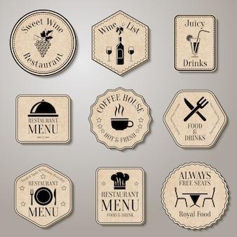 Emblemas do restaurante do vintage