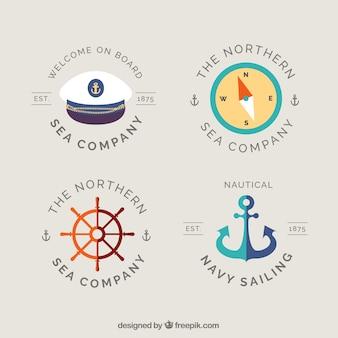 Emblemas fantásticas com elementos marinheiro