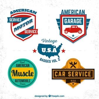 Emblemas garagem dos EUA do vintage