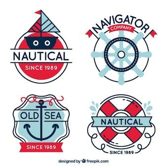 Emblemas impressionantes com artigos do marinheiro