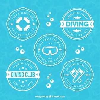 Emblemas mergulho arredondados
