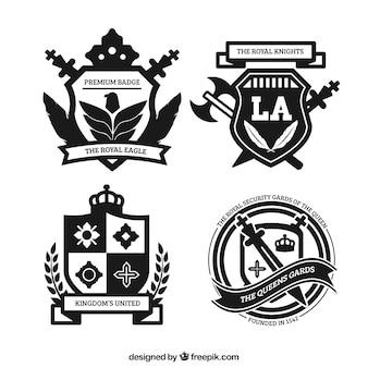 Emblemas reais em estilo ornamental