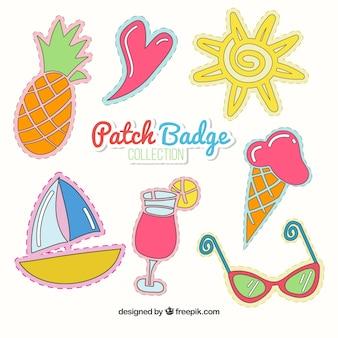 emblemas remendo verão desenhados mão