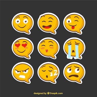Emoji adesivos bolha do discurso em forma