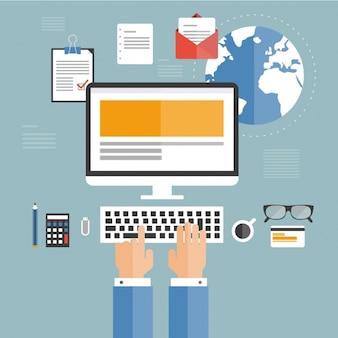 Empregado ocupado usando seu computador