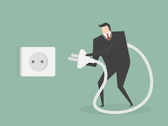 Empresário conectar um plug