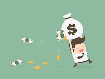 Empresário correndo com dinheiro