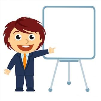 Empresário mostrando um gráfico na placa