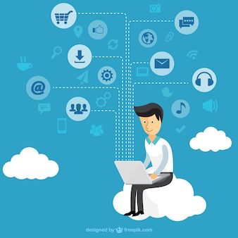 Empresário usando um tablet