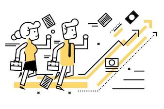 Empresários competitivos com empresas no gráfico alvo. elementos de design de linha fina e plana. ilustração vetorial