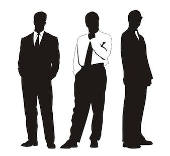 Empresários elegantes silhuetas em diferentes perfis